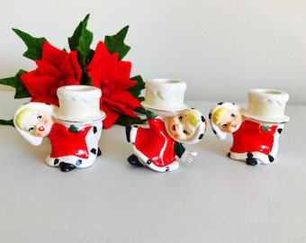 Vintage Napco Lefton Christmas Girls Red Scarf Candleholders Figurine Japan 1950's
