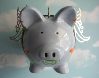 Flying Pig, When Pigs Fly, Up Cycled Piggy Bank