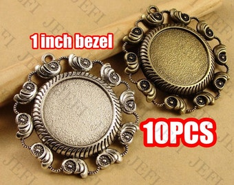 10 Pendant Trays- Zinc Alloy Filigree Frame 25mm Round Bezel Setting W/ Ring, 2 Colors- Antique Bronze/ Antique Silver, HA3705