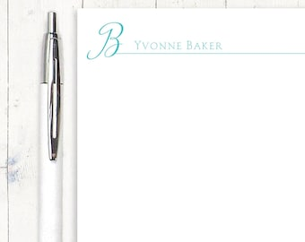 personalized notePAD - CURSIVE INITIAL monogram - stationery - stationary - monogrammed