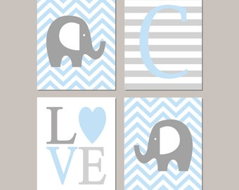 Elephant Nursery, Elephant Nursery Decor, Elephant Nursery Art, Prints Or Canvas Wall Art, Boy Nursery Decor, Boy Nursery Wall Art, Set of 4
