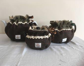 Herringbone Harris Tweed Drawstring Tea Cosy - Khaki, Nut Brown, Navy & Grey Blue  2 cup, 6 cup 10 cup