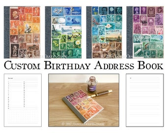 Custom Birthday & Address Book • Stamp Art Cover, you choose colours!