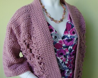 Crochet Cardigan, Cardigan Women, Pink Cardigan, Mauve Cardigan, Crocheted Cardigans, Kimono Jacket, Available in XS/S and M