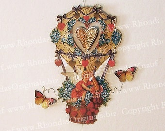 Valentine Cupid Digital Download - Printable Hanging Decoration Cherub Angel, Hot Air Balloon - 3D Ornament With Spinning Heart CS30C