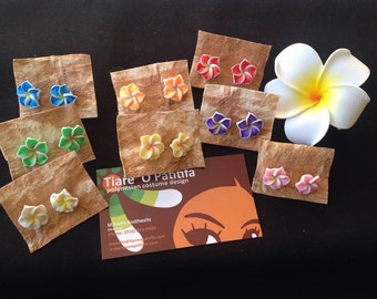 Small 14 mm Pair Of Foam Plumeria Or Frangipani Earrings. Listing Is For One Pair Of Earrings. Pick The Color You Like. Perfect For All Ages