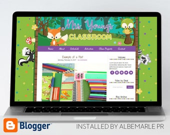 Premade Blogger Template, Mobile Responsive, Teacher Blog Template - Mrs. Young