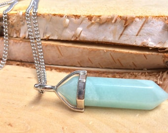 Gem Amazonite necklace Amazonite pen necklace