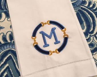 monogrammed horse bit tea towel