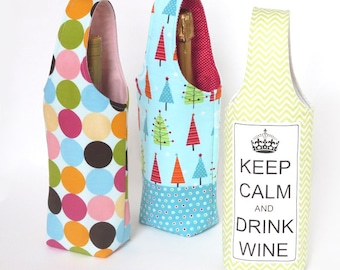 Easy No Bias Tape Wine Tote Sewing Pattern