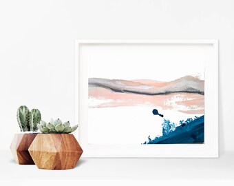 Abstract Landscape Painting- Modern Art - Blush Pink and Indigo Blue- Minimal Landscape Art - Minimal Abstract Painting - Scandinavian Art