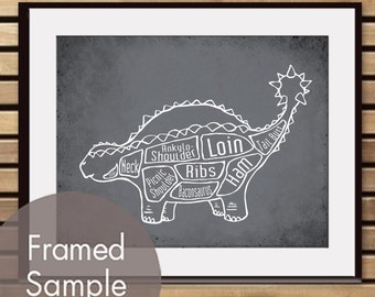 Ankylosaurus Dinosaur Butcher Diagram - Art Print (Featured in Charcoal) (Buy 3 and get One Free)