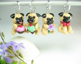 Cute Pug Stitch Markers Set of 4, pug gifts, pug charm, knitting accessories, dog lover gift, gift for knitters, cute kawaii pug life clay