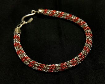 """Silver and Red """"Candy Cane"""" Viking Knit Bracelet with hook clasp"""