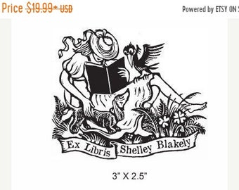 May Sale Girl Reading with Dacshund and Crow Personalized Ex Libris Library Stamp  Rubber Stamp D27