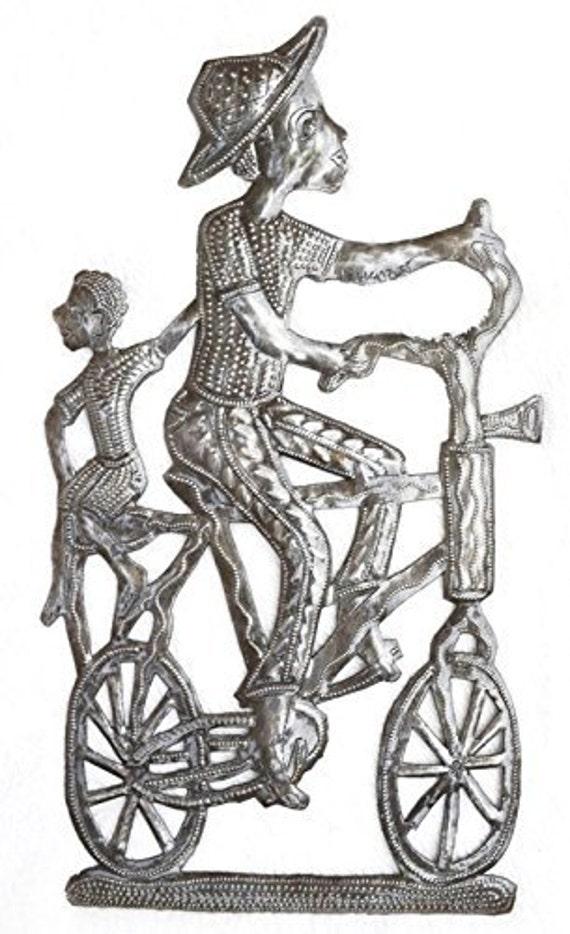 """Bike Art, Metal Wall Art Haiti, Traditional Folk Art 8"""" x 15"""""""