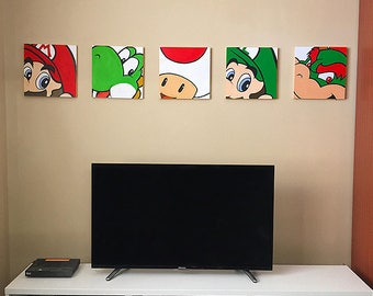 5 hand painted Mario characters