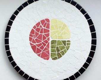 Avocado cucumber tuna maki, mosaic trivet.