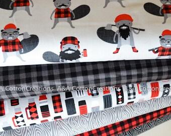 Burly Beavers Quilting Cotton Bundle of 6, Hipster fabric, Red Black Plaid, Boy Fabric, Animal Fabric, Robert Kaufman Fabrics