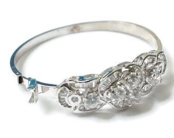 Rhinestone Bangle Bracelet Bridal Pageant Hinged Smaller Wrist Size Vintage