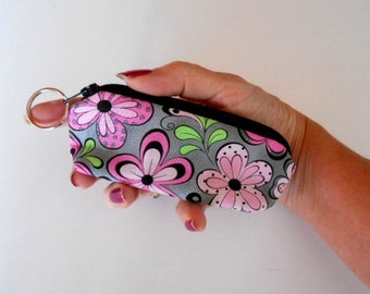 Coin Purse Mini Key Ring Zipper Pouch ECO Friendly Padded Lip Balm Case Earbud Pouch NEW Pink Fiesta