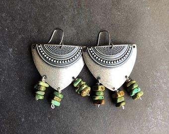 Boho earrings, silver earrings, tribal earrings, southwest earrings, ethnic earrings, tribal jewelry, antique silver earrings