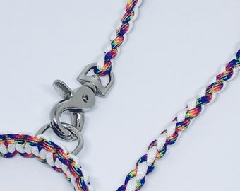 Paracord Dog Lead Rainbow