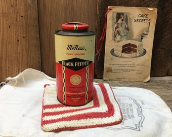 McNess Black Pepper Tin/Red/Collectible/Farmhouse Kitchen