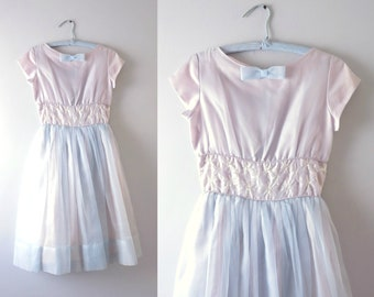 Vintage 50s Party Dress | 1950s Blue & Lavendar Organza Formal Party Dress S