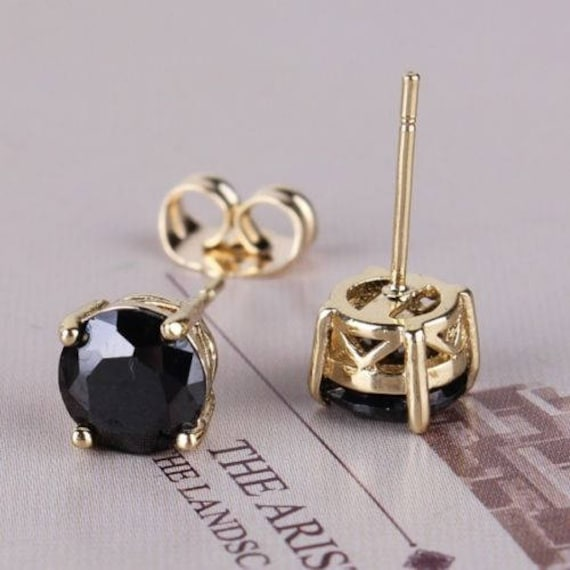 Lovely new 18ct yellow gold filled 7mm black sapphire stud earrings