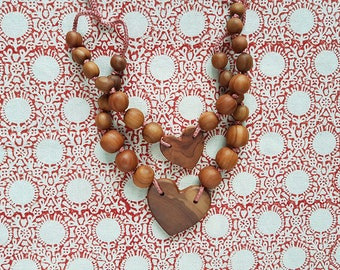 Layered Necklace   Silk and Apple Wood   Teething Necklace   Mom and Daughter Necklace   Teething Beads   Mother's Day    HS01