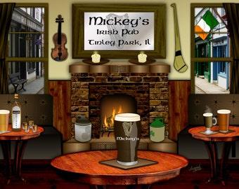 Irish Pub, personalized bar art, Slainte, Irish bar art, Irish wedding gift, Irish man cave, Irish birthday, Irish anniversary,pint of stout