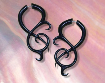 Fake Gauge Earrings, Thistle Twists, Black Horn Earrings, Tribal Jewelry, Split, Organic, BOHO, Handmade, Cheaters, Faux, Eco Friendly, H15