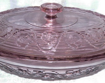 Anchor Hocking Pressed Glass Avalon Amethyst Oval Covered Casserole 3-Quart