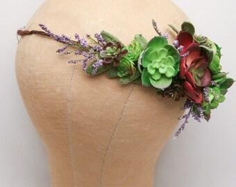 Succulent Flower Crown Wedding Headband, Flower Headpiece Rustic Bridal Flower Wreath of Green Succulents