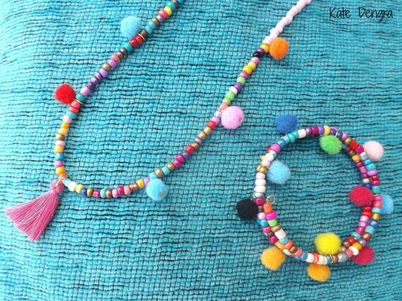 Hippie Boho Beach Babe Range Multi Pom Pom Tassel Necklace and Wire Wrap Bracelet Set Hippy Ocean Bright Made to Order by Kate Dengra Spain