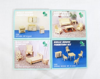 Wooden Dolls House Furniture Kit, Dolls Living Room Kit, Dolls Living Room Kit, Dolls Bedroom Kit, Dolls Kitchen Kit, Toys and Games (149)