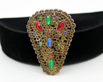 Filigree Style Dress Clip with Multicolored Glass Cabochons, ca. 1930s