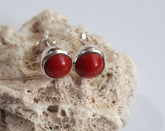 Coral stud earrings set in 92.5 sterling silver