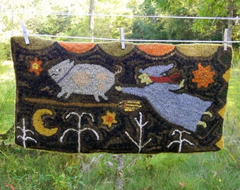When Pigs Fly - Hooked Rug Pattern- on LINEN ~ from Notforgotten Farm™