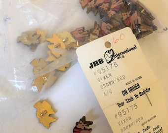 Rare Vixen Red Brown Metal Shank Buttons Manufacture by JHB Interrnational