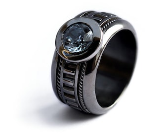 MENS RING, Black engagement ring, Steampunk ring, Unique rings, Mens rings handmade, Nautical engagement ring, personalized, Promise ring