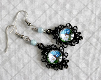 Stained Glass Day and Night Cabochon Earrings with Kyanite Beads - Victorian Vintage Style