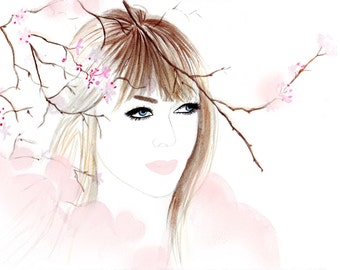 Digital Download - Watercolour fashion illustration Titled Parisian Winter Bloossoms