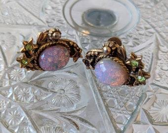 Dragons Breath Opal Screwback Earrings