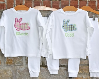 Gingham Bunny Monogram Pajamas - Personalized Easter Pajamas - Monogram Easter Pajamas - JULIANNE ORIGINALS