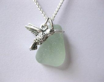 Bird jewelry Bird pendant Bird necklace sea glass necklace seaglass jewelry