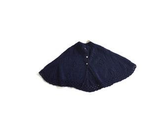 Vintage caplet/  dark blue cape, knit cape with baseball buttons