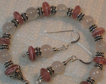 New Lampwork & Rose Quartz Bracelet and Earring Set