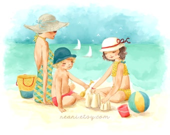 Custom Family Portrait Beach Illustration Mother Daughter Watercolor Logo Design Nautical Boats Fashion Illustration for Kids